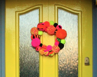 Pom Pom door wreath in Neon