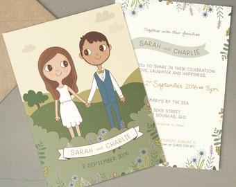 Country Wedding Invitation |  Custom Couple Portrait Illustration 5x7 or A5