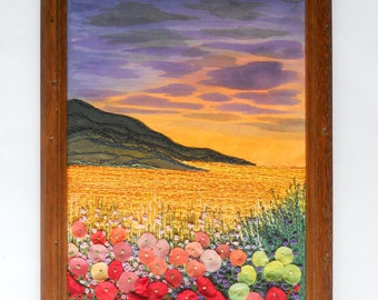 Fiber Art Wall hanging Framed textile picture Embroidery painting Homeware gift for her