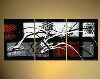 "Modern Abstract Painting Black White Red Original Acrylic Painting on Canvas by Osnat - MADE-TO-ORDER - 54""x24"""