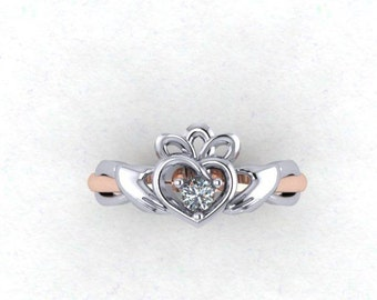 Diamond Claddagh ring in 14Kt Rose and white gold-Irish Claddagh ring-Diamond Claddagh ring