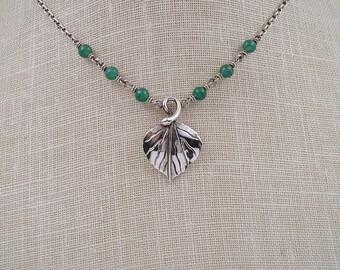 Sterling Aventurine Gemstone Aspen Leaf Necklace