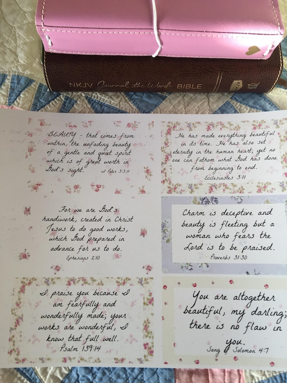 Shabby Roses Scripture Journal Cards Beauty Theme 6 Cards -  Digital Download