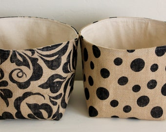 Square Printed Burlap Storage Baskets  - Select Your Size