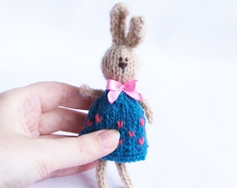 Rabbit  in dress decor Stuffed bunny with ribbon Home decoration Spring rustic country indoor decor Multicolor animal Gift for him her