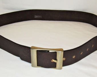 "Vintage SWANK Men's Brown Leather Brass Buckle 1 3/4"" Wide Belt - Size 38"