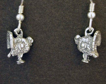 Sterling Silver Turkey Earrings on Heavy Sterling Silver French Wires