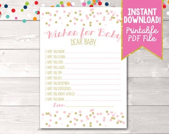 Pink & Gold Baby Wishes Instant Download Printable PDF with Polka Dot Confetti