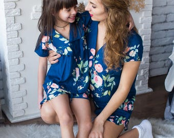 Matching Pjs Navy Blue Baby Mommy, Mom and Me Pajamas, Floral pattern, Twinning, Mommy baby matching, Mini me