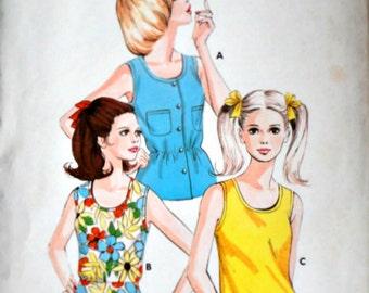 Vintage 80's Kwik Sew 553 Sewing Pattern, Junior Summer Tops, Size 5-7-9-11, Bust, 31 1/2-33-34 1/2-36 1/4, Uncut FF