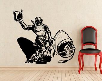 Deadpool Riding a Shark Super Sticker Wall Vinyl Decals Home Interior Murals Art Decoration (Improved Design) (298z)