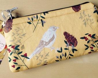 Handmade Shy little Jay yellow padded zip case pencil case purse pine cones birds nature bird print Jay fabric pattern