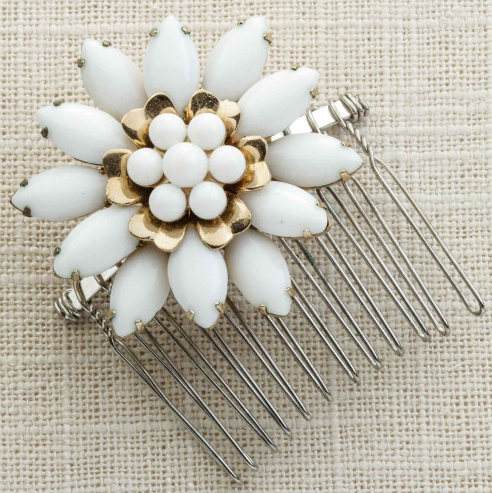 White Enamel Gold Flower Hair Clip Embellished Comb Handmade In Usa