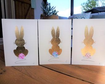 Handmade Gold Leaf Rabbit Card