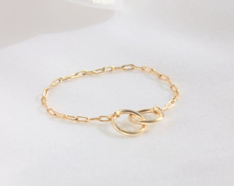 Rose gold ring / Best friend ring / Gold ring / Thin sister ring / Sister gift / Dainty ring / Friendship ring / Rose gold infinity ring