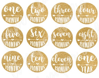 Monthly Baby Stickers, Monthly Baby Iron-Ons, Baby Gold Months, Glitter Gold Monthly Stickers