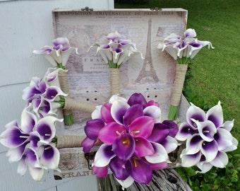 Wedding Bouquet Purple Calla Lily Bouquet Purple Bouquet Real