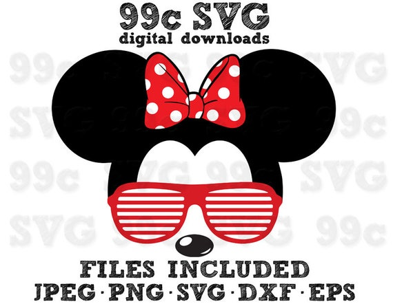 Minnie Mouse Sunglasses Svg Dxf Png Vector Cut File Cricut
