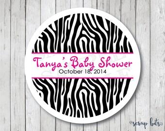 Personalized Zebra Stickers, Zebra Baby Shower Stickers, Zebra Print Labels, Zebra Baby Shower Tags, Zebra Tags