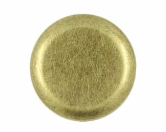Metal Buttons - Flat Antique Brass Metal Shank Buttons , 1 inch , 10 pcs