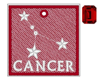 Cancer Zodiac FSL Bookmark - Book Lovers Gift - FSL - Embroidery Design - Multiple Formats