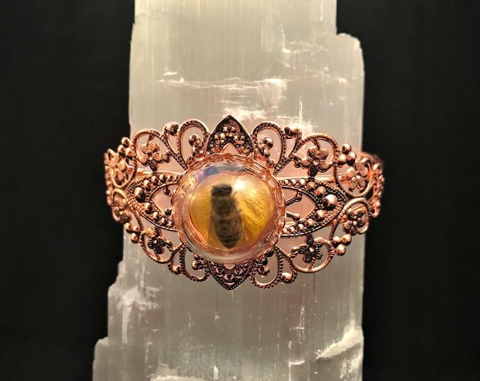 Honey Bee Filigree Bracelet: Rose Gold or Bronze