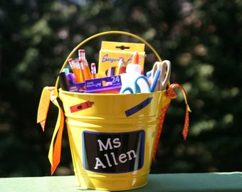 Personalized teacher gift - metal pail with chalkboard, crayons, scissors and pencil