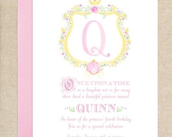 Watercolor Princess Crest Invitation