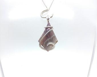 Amethyst Lace Agate Pendant | Amethyst Crystal Pendant | Sterling Silver Pendant | Amethyst Pendant Necklace | February Birthstone