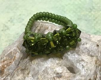 Seed Beaded Ring Crystal Beaded Ring Beaded Ring Green Crystal Ring Beadwoven Ring Size 7 Beaded Ring Peyote Ring Woven Ring Seed Bead Ring