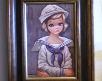Vintage Child Print Eden Big Sad Eyed Girl in Sailor Suit Framed Adorable 60's 70's Groovy
