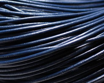 5 Metters - Navy Blue 2mm round leather cord - 8741140014664