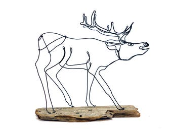 Sculpture de fil de wapitis, de la faune de fil Art, fil Folk Art, 571716929