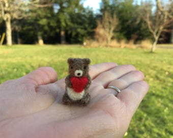 Needle Felted Bear With Heart Valenties Day Miniature Tiny Figure