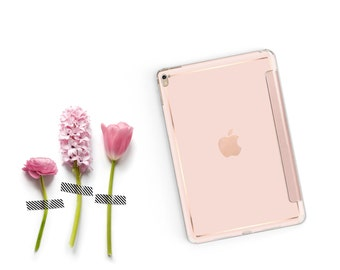 iPad Case . iPad Pro 10.5 . Rose Gold Ombre with Rose Gold Smart Cover Hard Case for  iPad mini 4  iPad Pro  New iPad 9.7 2017