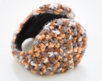 Crochet ear warmer woman Earmuffs, Brown, gray and white, ear warmer