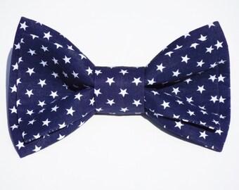 PATRIOTIC BLUE  BOWTIE  - Clip On Bow Tie  - American Patriotic Bow Tie