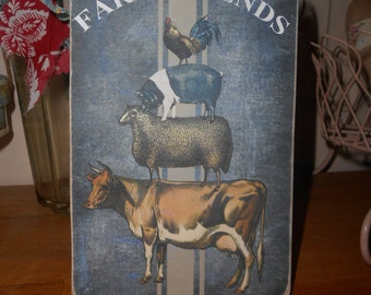 hanging wooden sign farm animals cow sheep pig hen farm friends shabby chic french decor handmade recycled wood