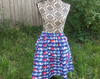 "Elastic Waist Whale Print Skirt With Pockets -Size 26"" to 36"""