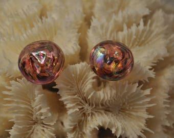 Pink glass Pearl clip earrings