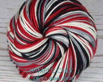 "Dyed to Order: Self striping sock yarn - ""RED BLACK GRAY White"" - Football - Sports School Team colors - Atlanta, Houston, Columbus"