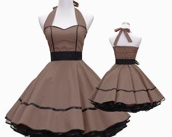 50's vintage dress full skirt black taupe sweetheart design custom made Retro