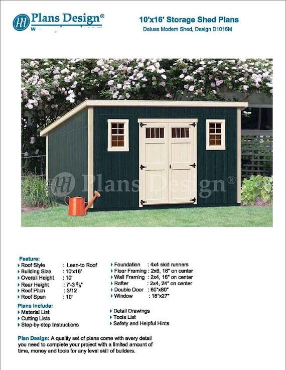10u0027 X 16u0027 Garden Storage Modern Roof Style, Shed Plans / Blueprints,  Material List And Step By  Step Instructions Included #D1016M From  PlansDesign On Etsy ...