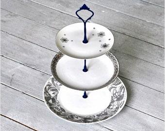Blue Drift: Hanukkah Table, Winter Holiday, 3 Tier Cake Stand, Black White Blue, Winter Snowflake Pattern