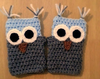 Childrens Fingerless Gloves, Blue and Gray Owl Gloves, Crochet Fingerless Gloves, Wrist Warmers, Arm Warmers