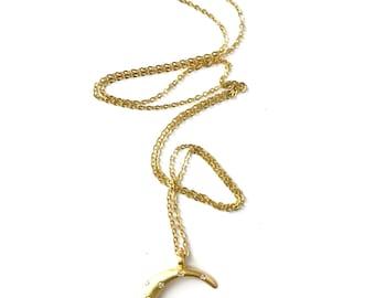 Vintage Crescent Moon Star Pendant Necklace