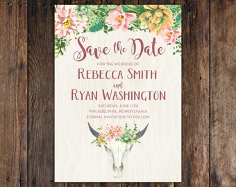 Rustic Cactus Cow / Steer Skull 5x7 Save the Date Invitation for Spring or Summer Print at Home DIY Version