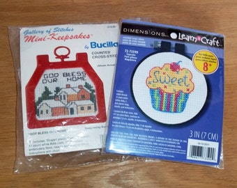 Two Mini Counted Cross Stitch Kits - Easy, For Beginners - Bucilla - Dimensions Learn a Craft - Cupcake