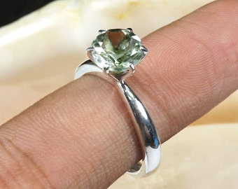 Green Amethyst Gemstone, Green Amethyst Ring, Green Amethyst Jewellery, 925 Sterling Silver, Prong Set Ring, Birthday Gift Ring, Jewellery