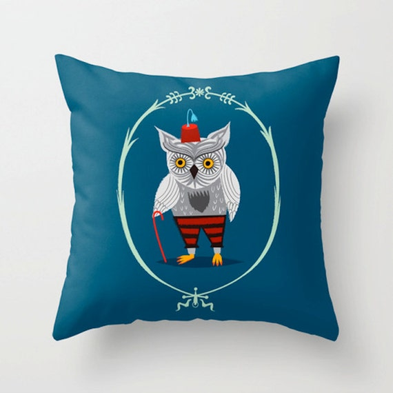 "Olaf The Old Grey Owl - Dark Blue Throw Pillow / Cushion Cover (16"" x 16"") by Oliver Lake"